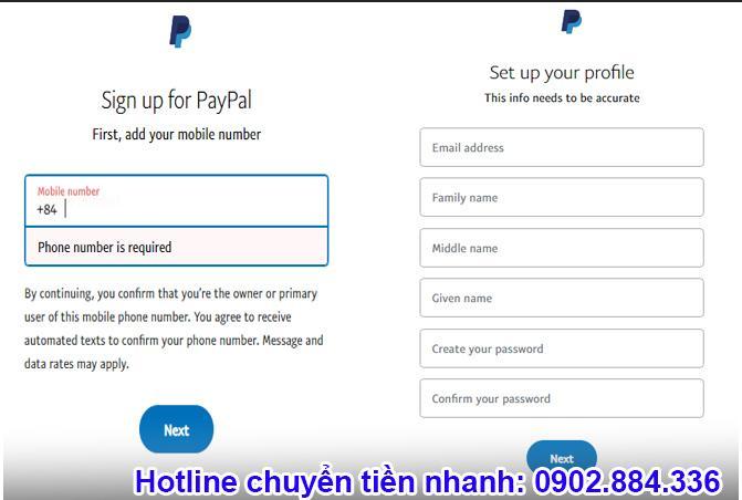 Điền các thông tin cá nhân để hoàn tất đăng ký Paypal