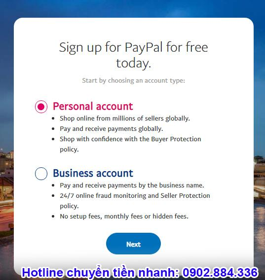 Lựa chọn loại tài khoản Paypal mà bạn muốn đăng ký